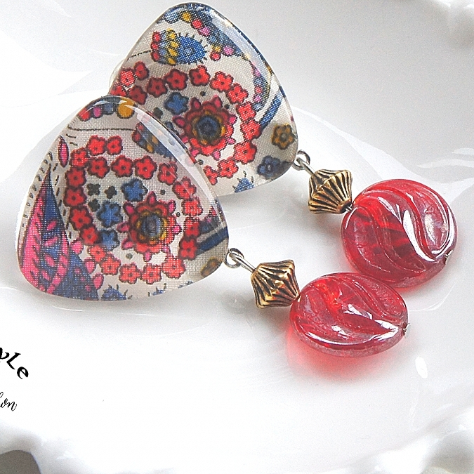 """ Earrings NO.423-142″ 花柄リバティ"
