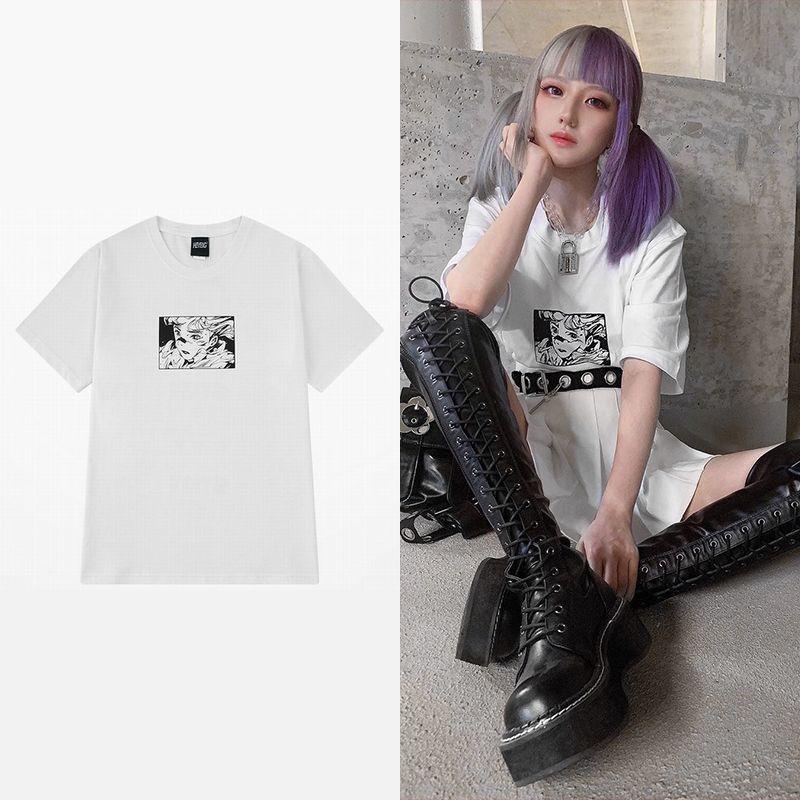 ユニセックス Tシャツ 半袖 メンズ レディース ラウンドネック プリント オーバーサイズ 大きいサイズ ルーズ ストリート