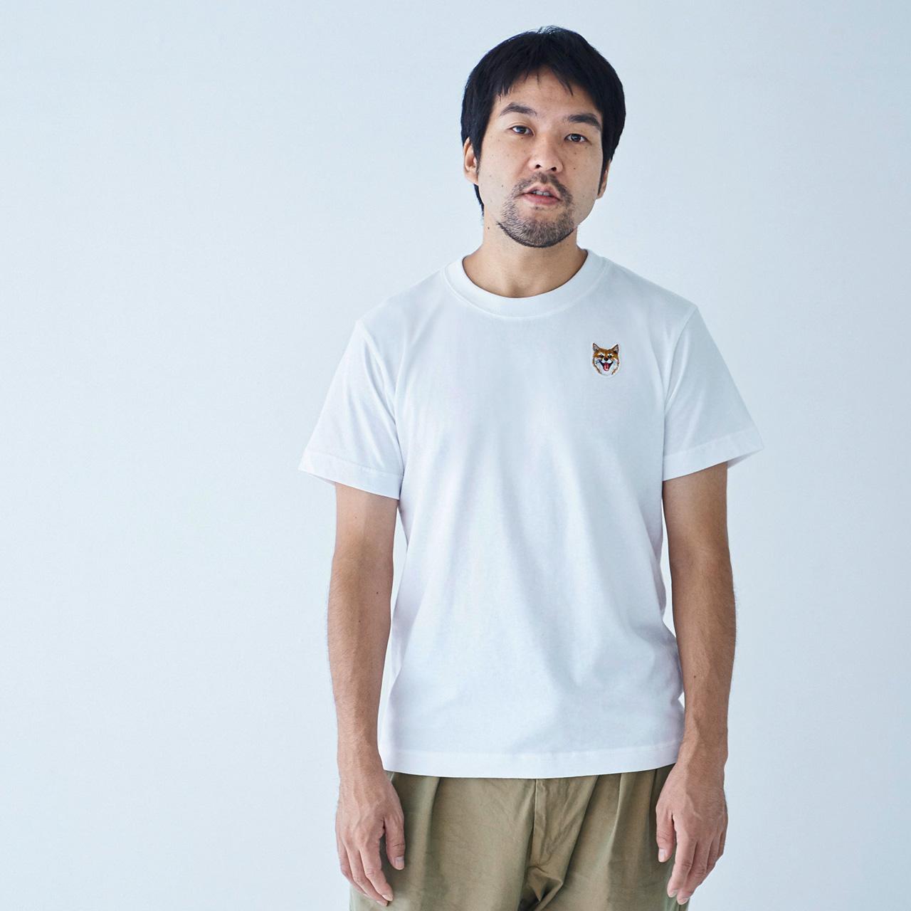 tee shirt smile patch white for man shibe japan