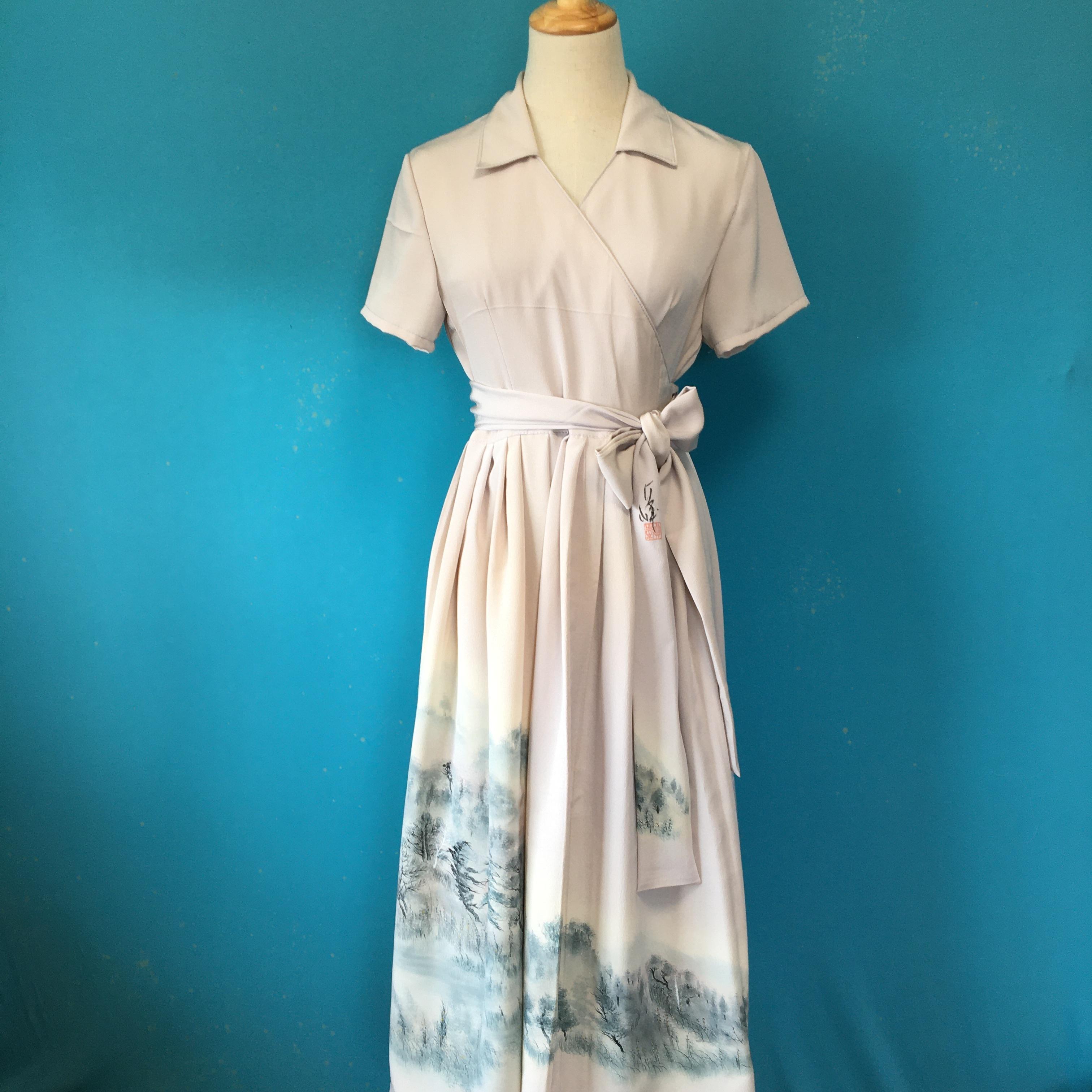 Vintage kimono dress/ US 8 落款