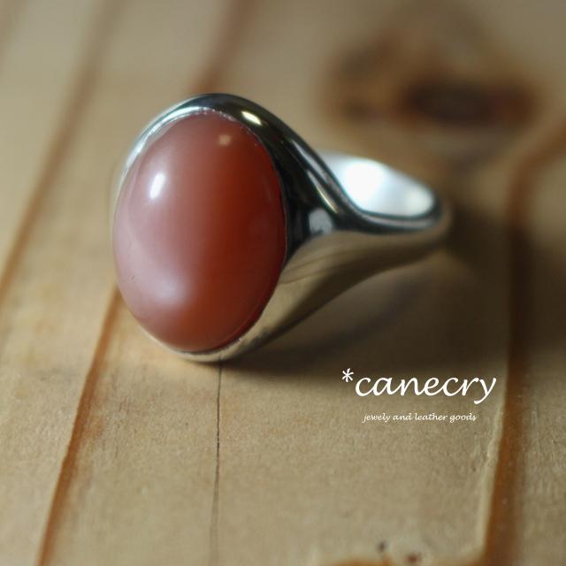 オレンジムーンストーンのリング