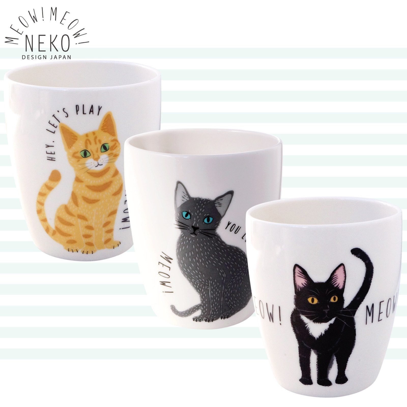 猫コップ(ミャウミャウシリーズ)全3種類