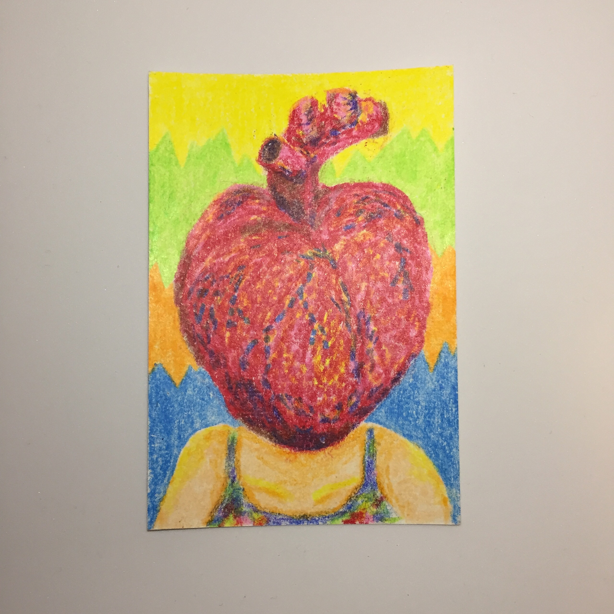 Heart human 5 years old / 100mm×148mm / Crayon / Original Drawing