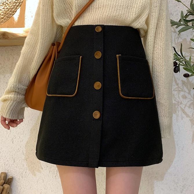 【bottoms】ハイウエストファッション視線集中配色スカート25204774