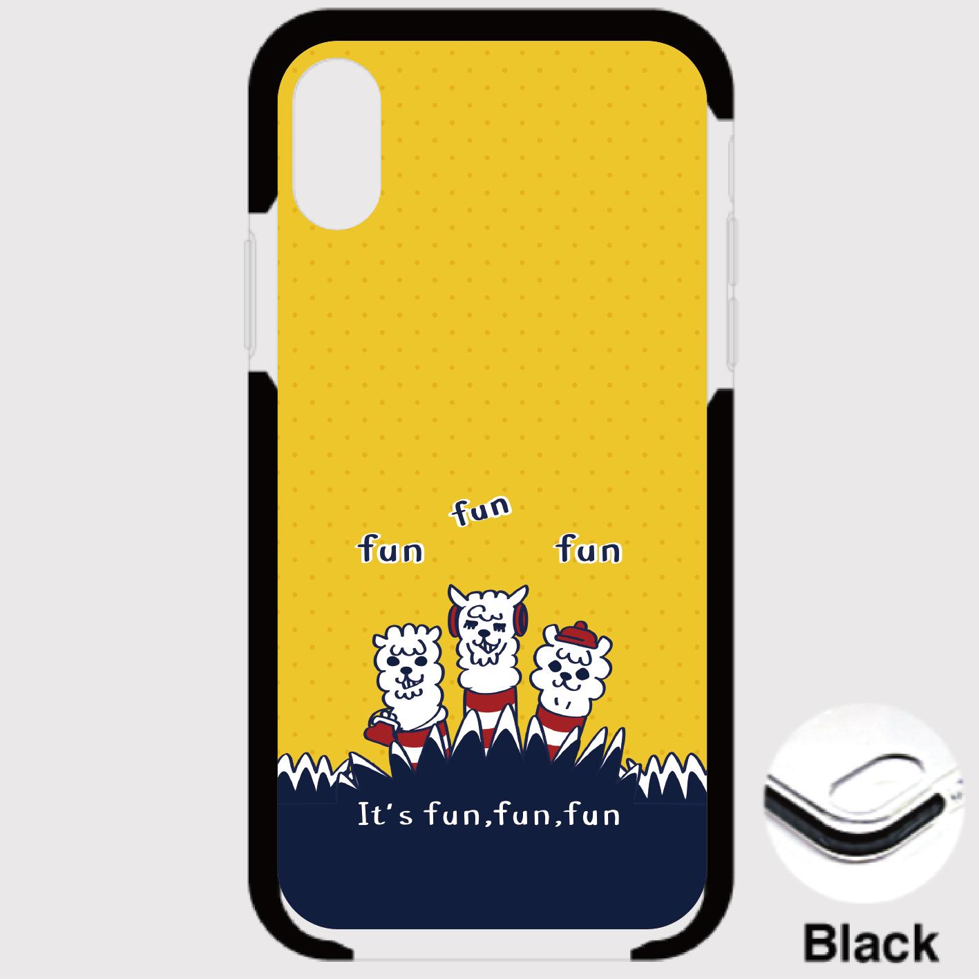 A*iPhone XR/X/XS/8/7*18-02Lxあるぱかイズムの黄色い*クッションバンパーケース