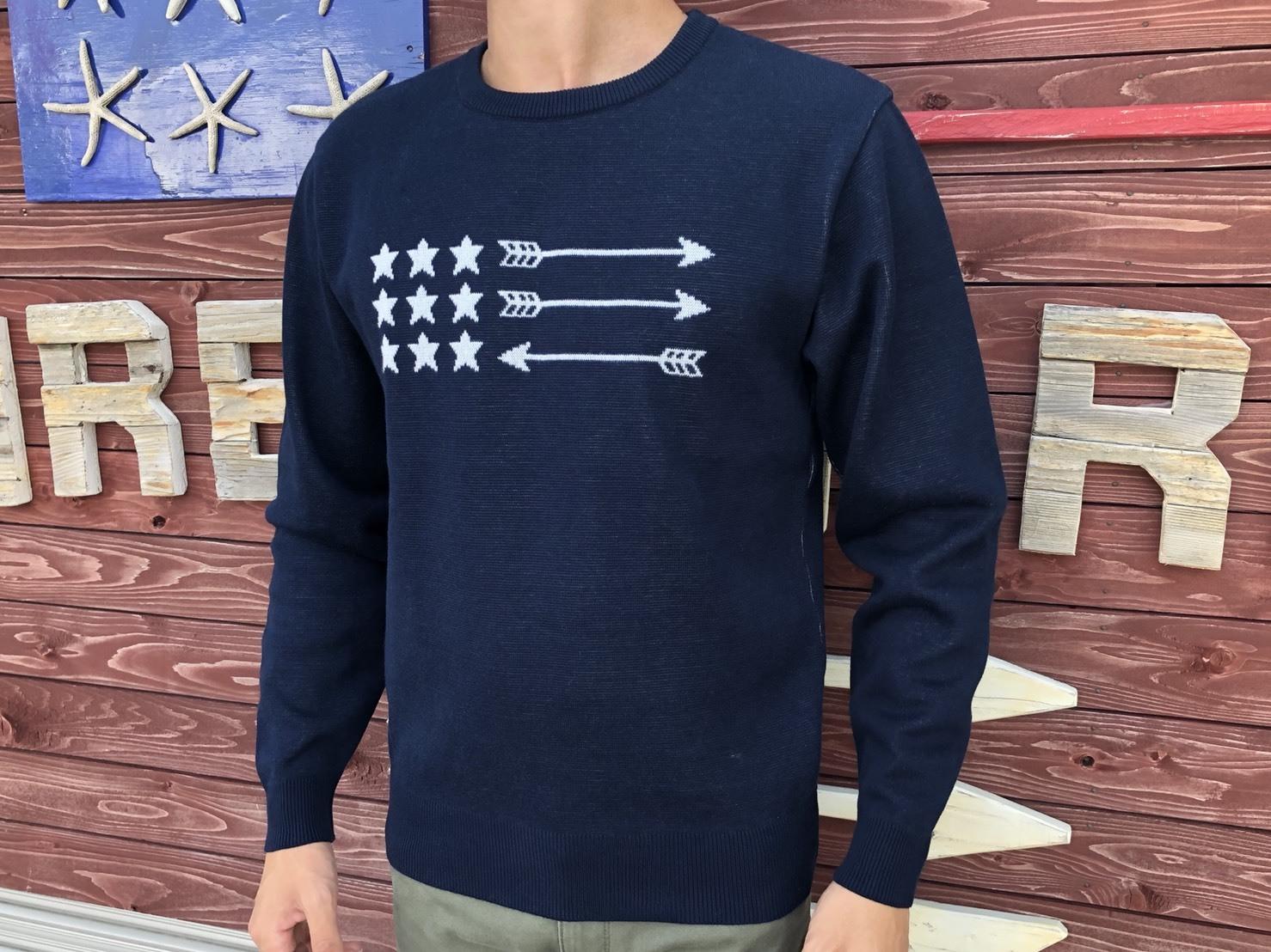 USA Arrow Flag クルーネックニット(navy)