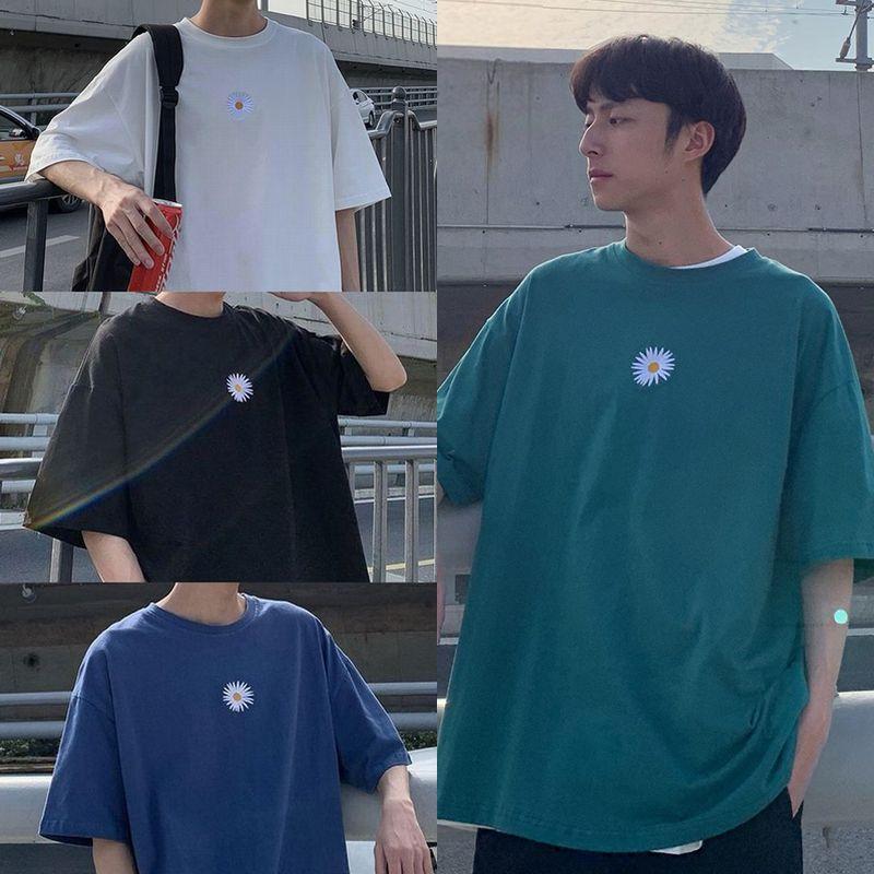 ユニセックス 半袖 Tシャツ メンズ レディース シンプル 一片の花 刺繍 オーバーサイズ 大きいサイズ ルーズ ストリート