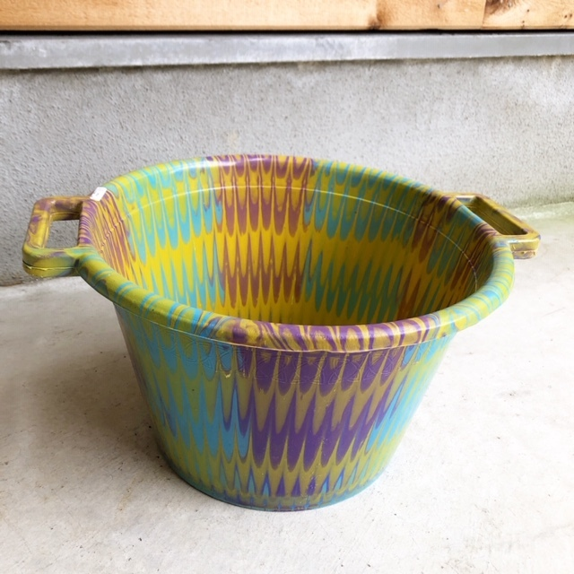 アフリカ Marble plastic bucket φ33cm・マーブルバケツ / 両手桶