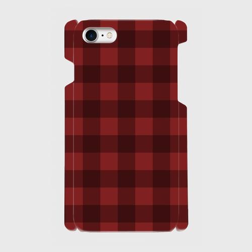 レトロ柄チェック(赤・黒)/ iPhoneスマホケース(ハードケース)