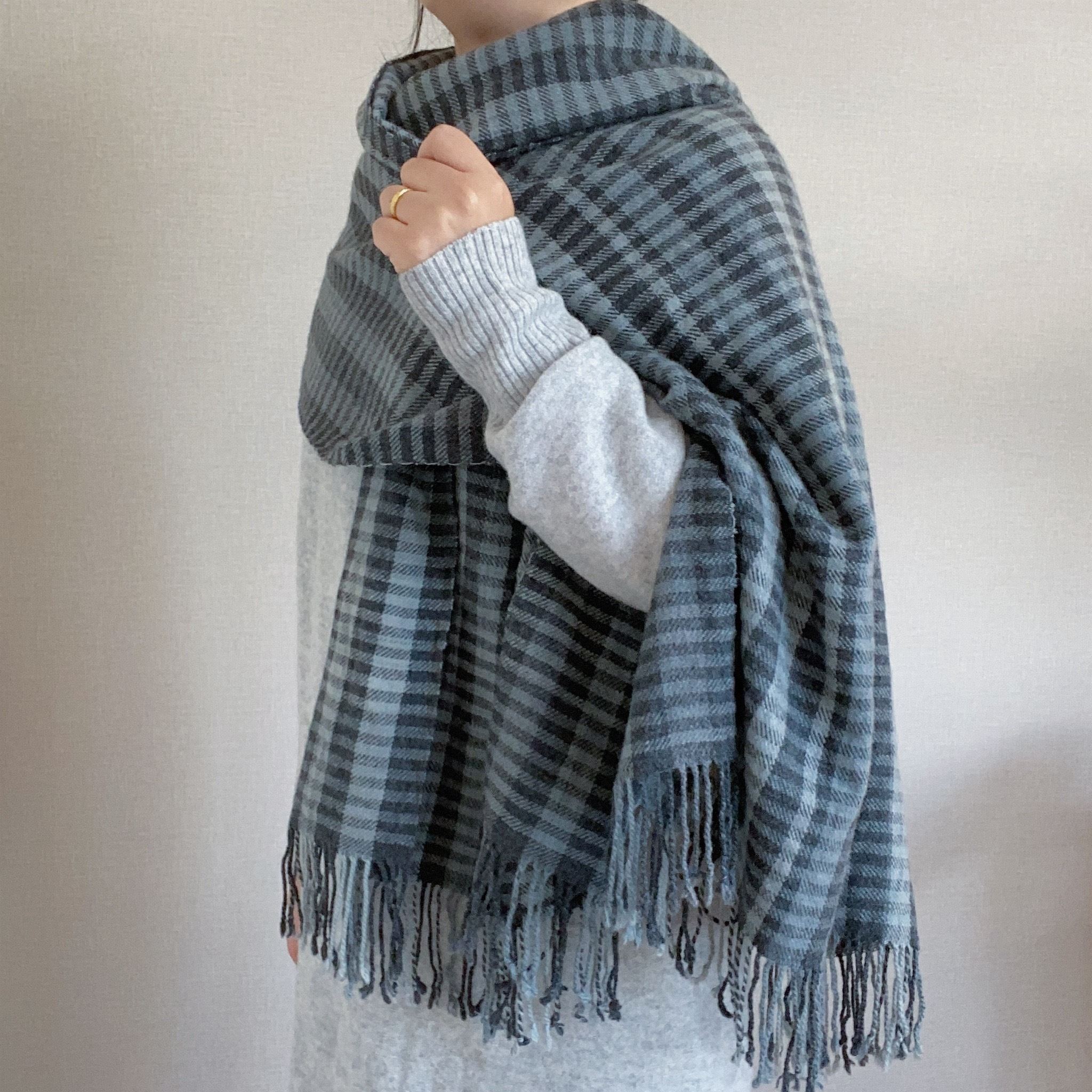 手織りカシミヤラムウールショール(Ice Blue #1)