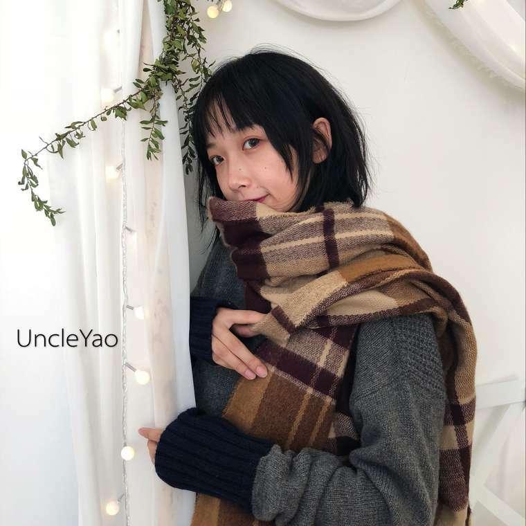 【送料無料】 冬のマストアイテム♡ ブラウン チェック カシミア ショール ストール マフラー 防寒