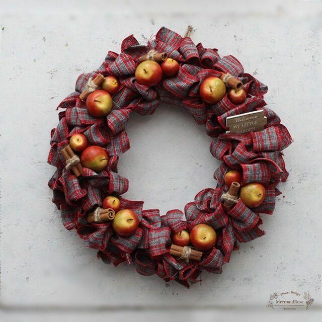 【クリスマスリースに!】リボンリース*アップルシナモンM30cm