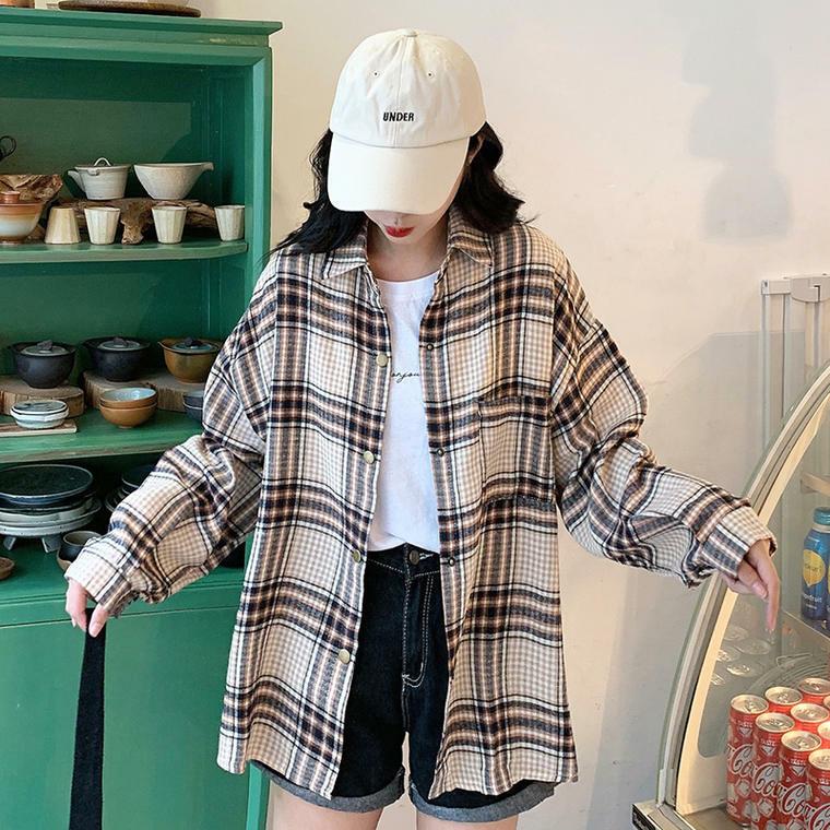 【送料無料】 秋にも着まわせる♡ チェック柄 オーバーサイズ シャツ トップス レトロ 長袖