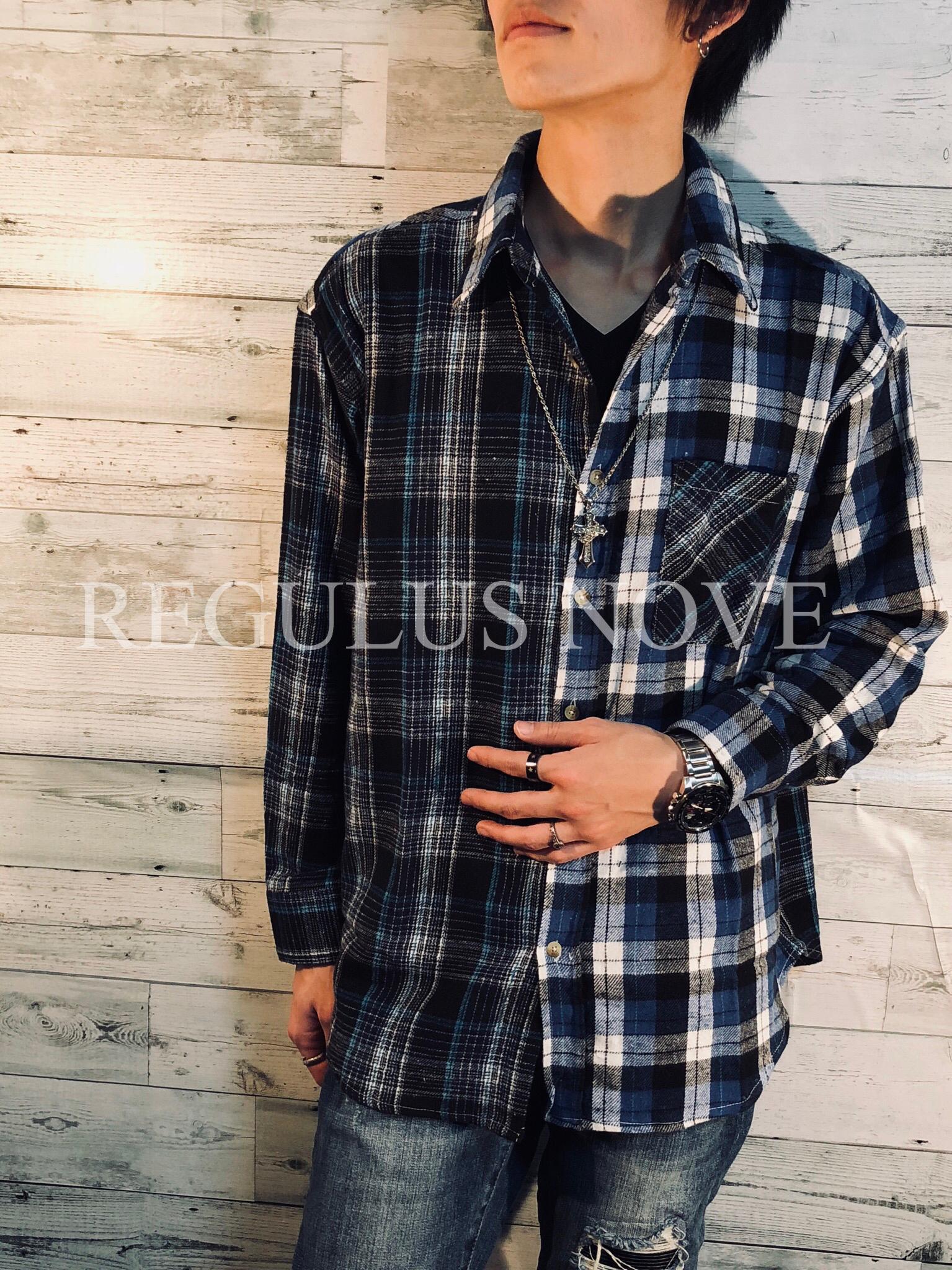 REGULUS NOVE クレイジー切替ビッグビエラチェックシャツ ユニセックス レディース メンズ   オーバーサイズ 大きいサイズ 派手 個性的 ストリート ロック カジュアル