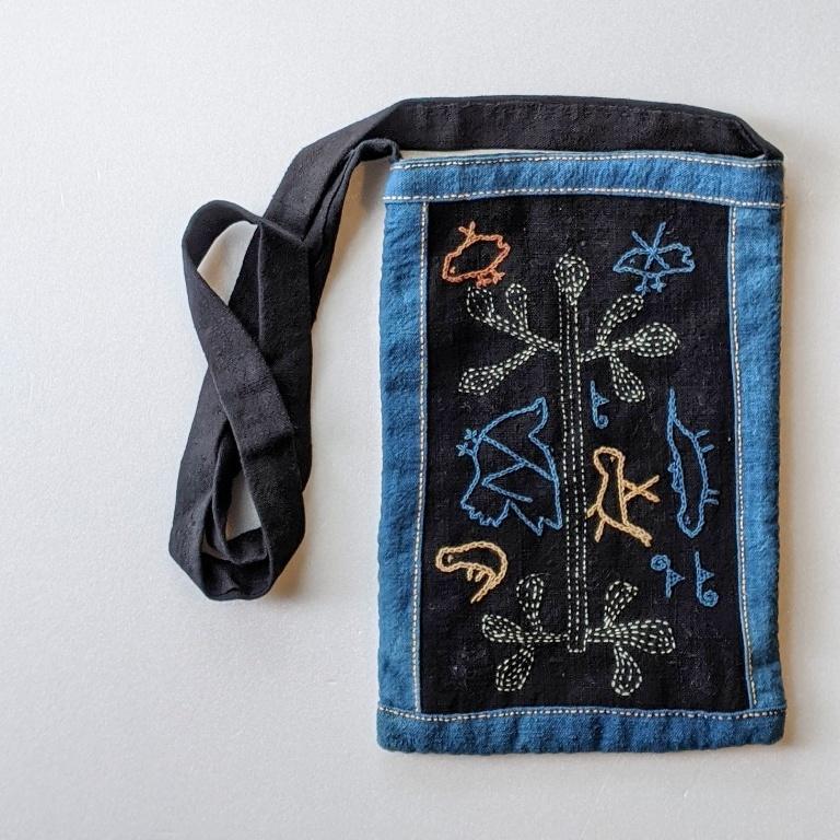 ラオス レンテン族の藍染め手刺繍ポシェット 大