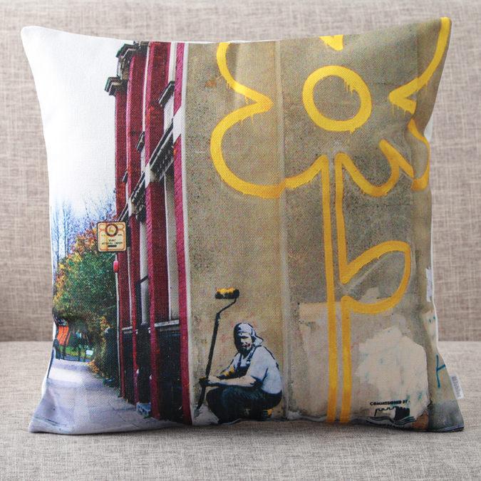 バンクシー Banksy クッションカバー Yellow Line Flower