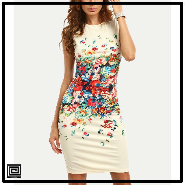 カラフルカリコプリントフィットドレス