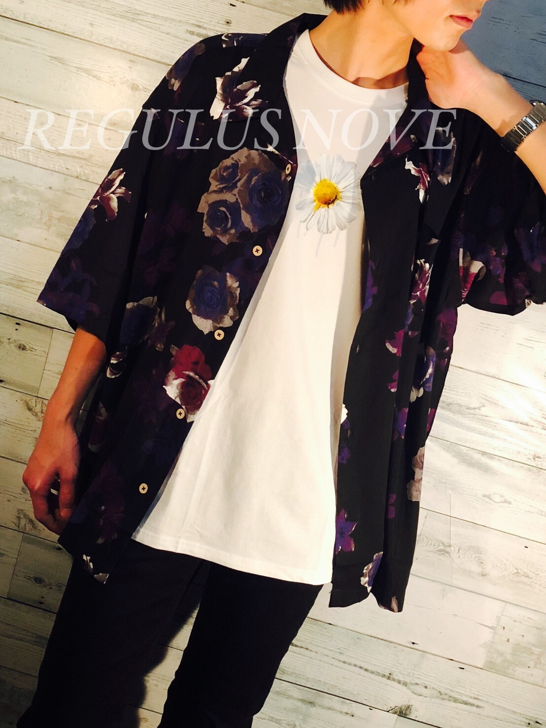 REGULUS NOVE BIGシルエットオープンカラーアロハシャツ BLACK ユニセックス レディース メンズ オーバーサイズ 大きいサイズ 派手 個性的 開襟シャツ トレンド