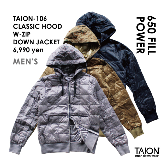Free shipping NOW!! / TAION-106 CLASSIC HOOD W-ZIP DOWN JACKET / 2018