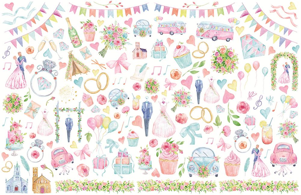 Happy Wedding転写紙  A3サイズ ハッピーウエディング転写紙(ポーセリンアート用転写紙)
