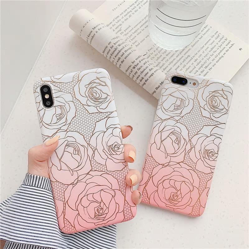 【お取り寄せ商品、送料無料】おしゃれ バラ ローズ 花  マット ソフト iPhoneケース