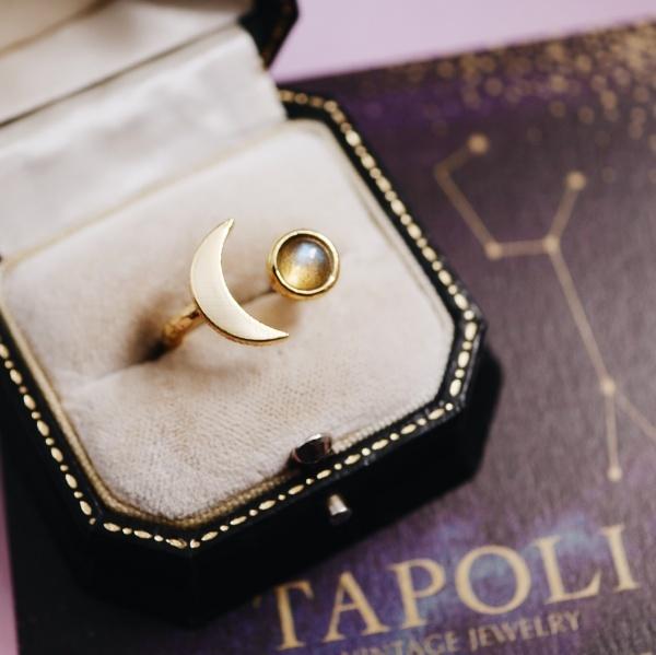 ラブラドライトリング 月と星の指輪