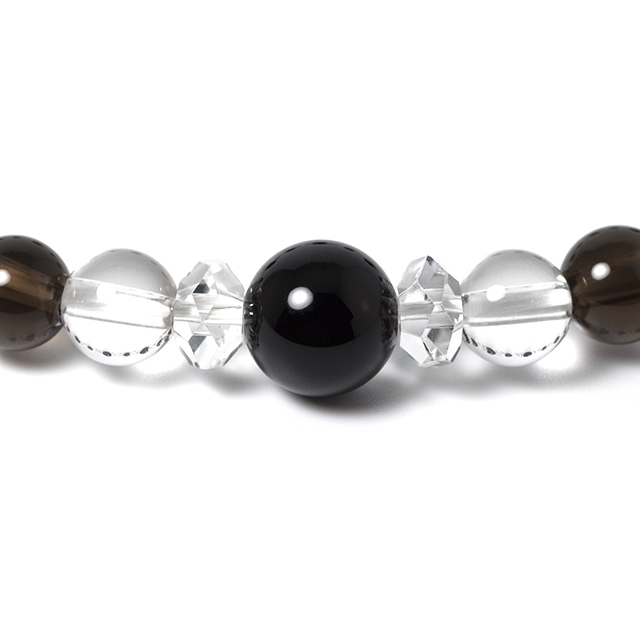 モリオン(黒水晶),スモーキークォーツ,天然水晶 パワーストーンブレスレット