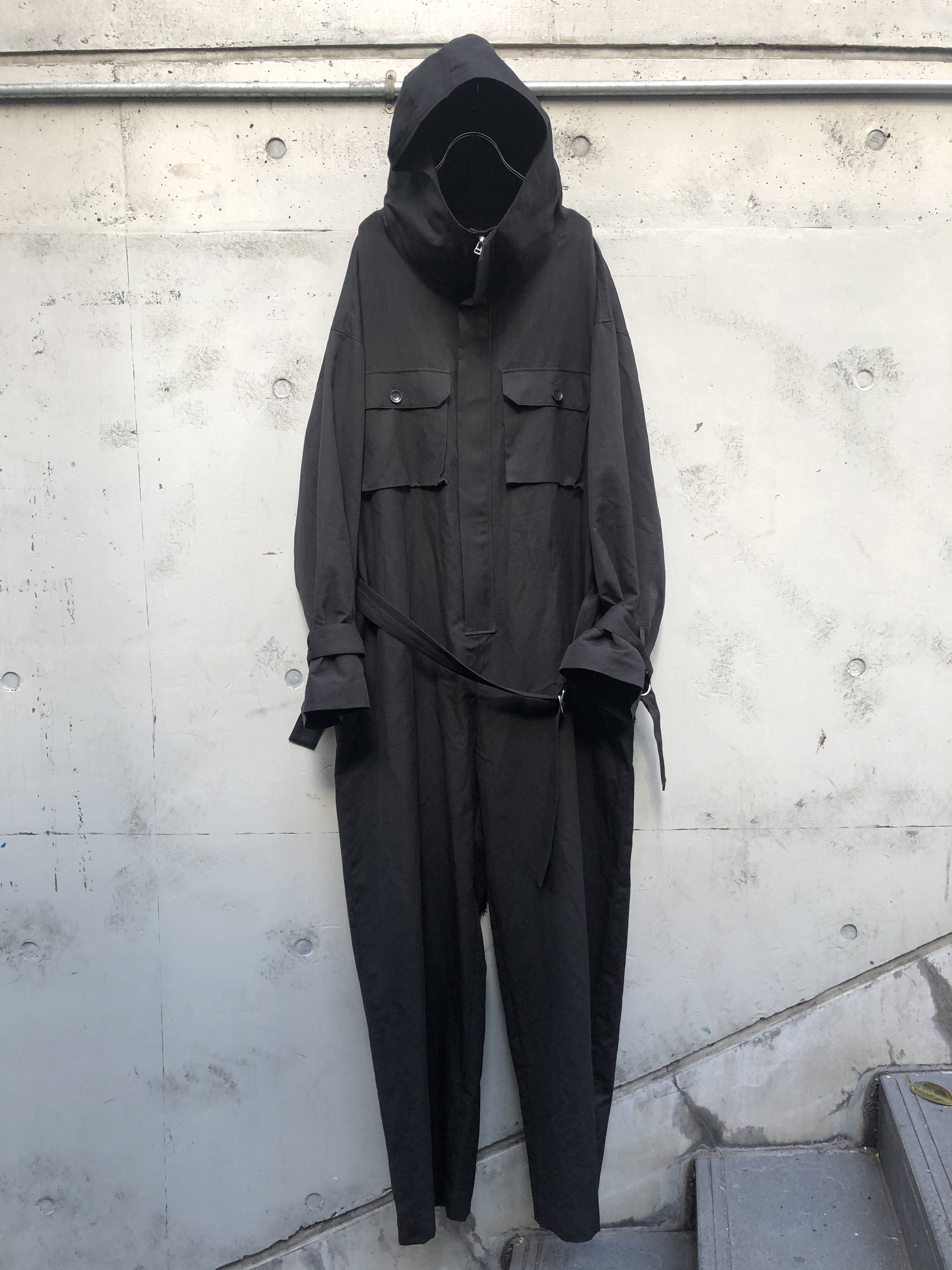 『my beautiful landlet』cotton linen all in one/BLACK SIZE 0
