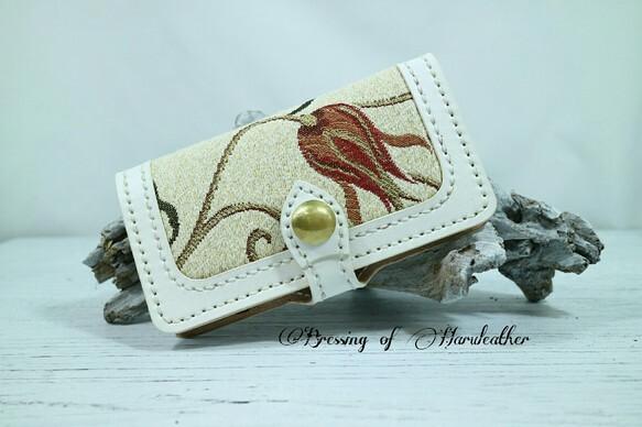 チューリップのトルコ布と厳選したカラーヌメ革のスマホケース