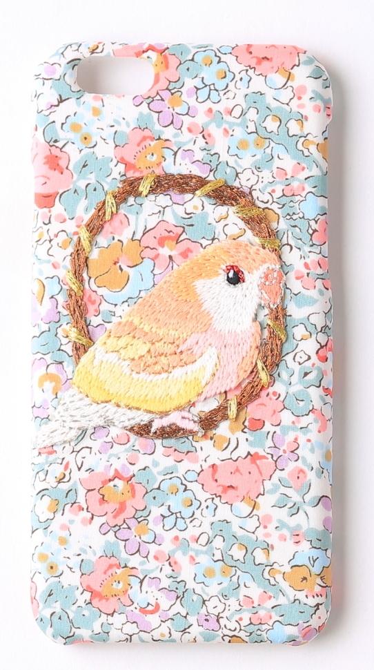 刺繍iPhone6/6sケース アキクサインコ【リバティプリント ピンク花】