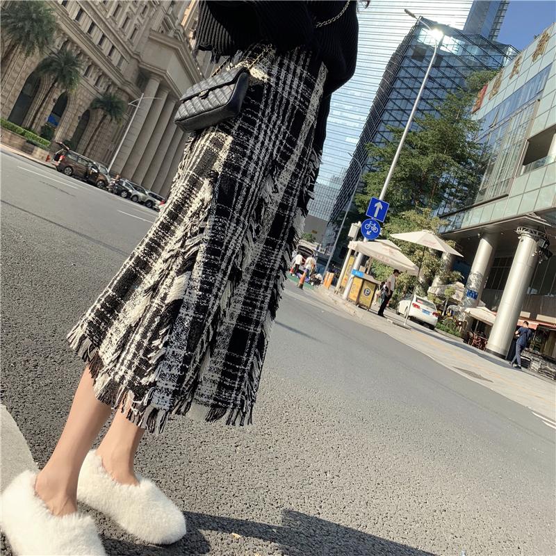 【即納】【送料無料】ツイード モノトーン フリンジ ハイウエスト ミモレ丈 スカート