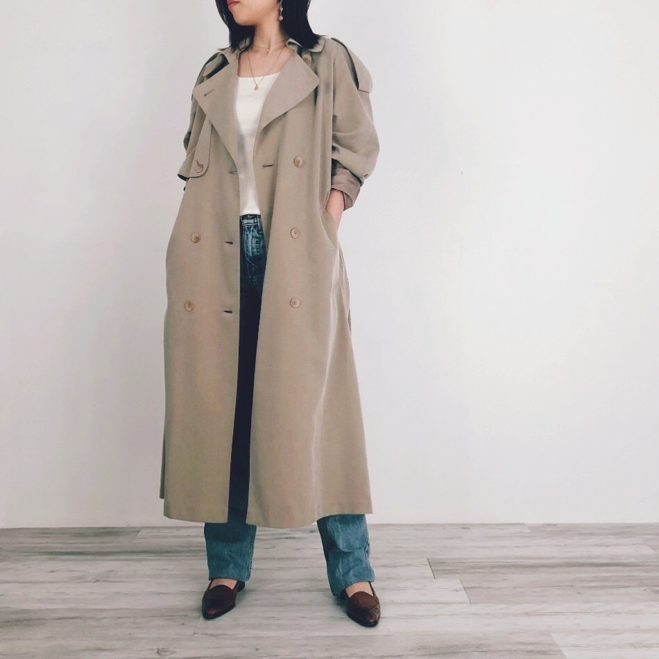 ◼︎90s raglan sleeve trench coat from U.S.A.◼︎
