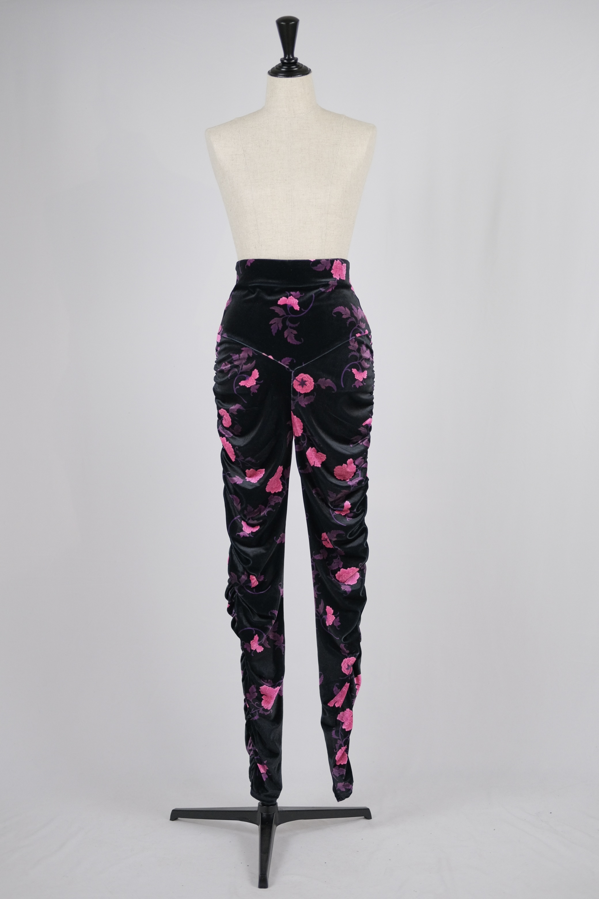 【FETICO】floral print gathered velour leggins