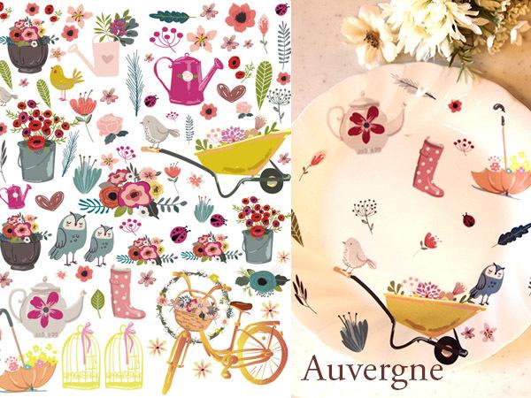 Auvergneオーベルニュ転写紙 A4サイズ (ポーセラーツ転写紙)