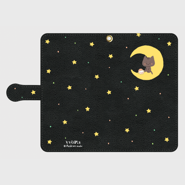手帳型✿くー&ちぃと三日月✿黒 Lサイズ