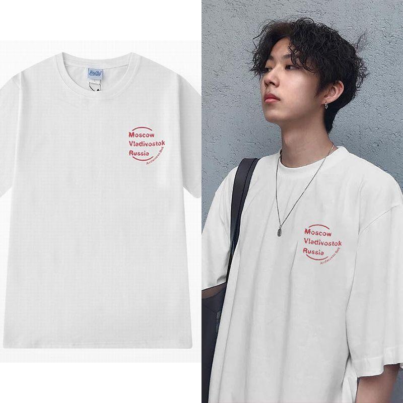 ユニセックス Tシャツ 半袖 メンズ レディース ラウンドネック シンプル 英字 プリント オーバーサイズ 大きいサイズ ルーズ ストリート