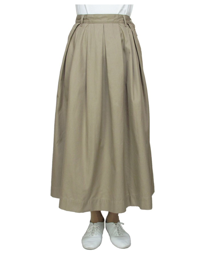 T/C chino long tuck-skirt Lot:35418 - 画像1