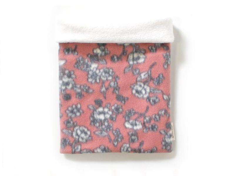 ハリネズミ用寝袋 L(冬用) フリース×フリース 芍薬 桃
