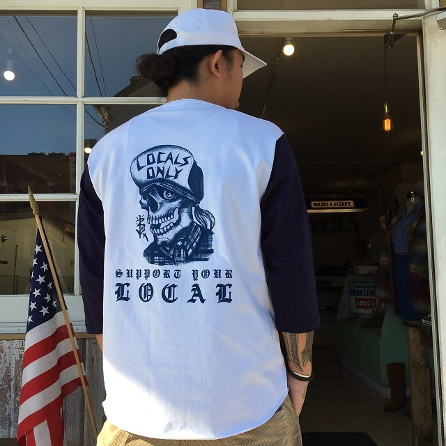 LOCALS ONLY×BLUE VALENTINE SKULL BASEBALL TEE