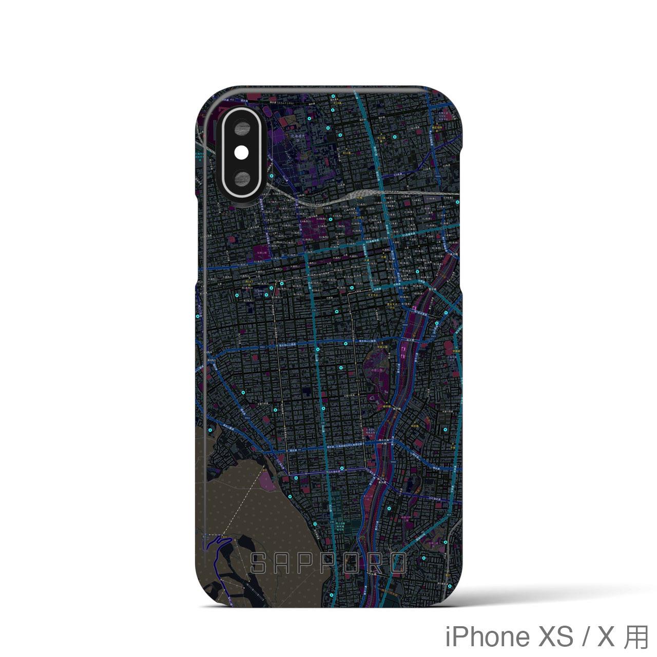 【札幌】地図柄iPhoneケース(バックカバータイプ・ブラック)