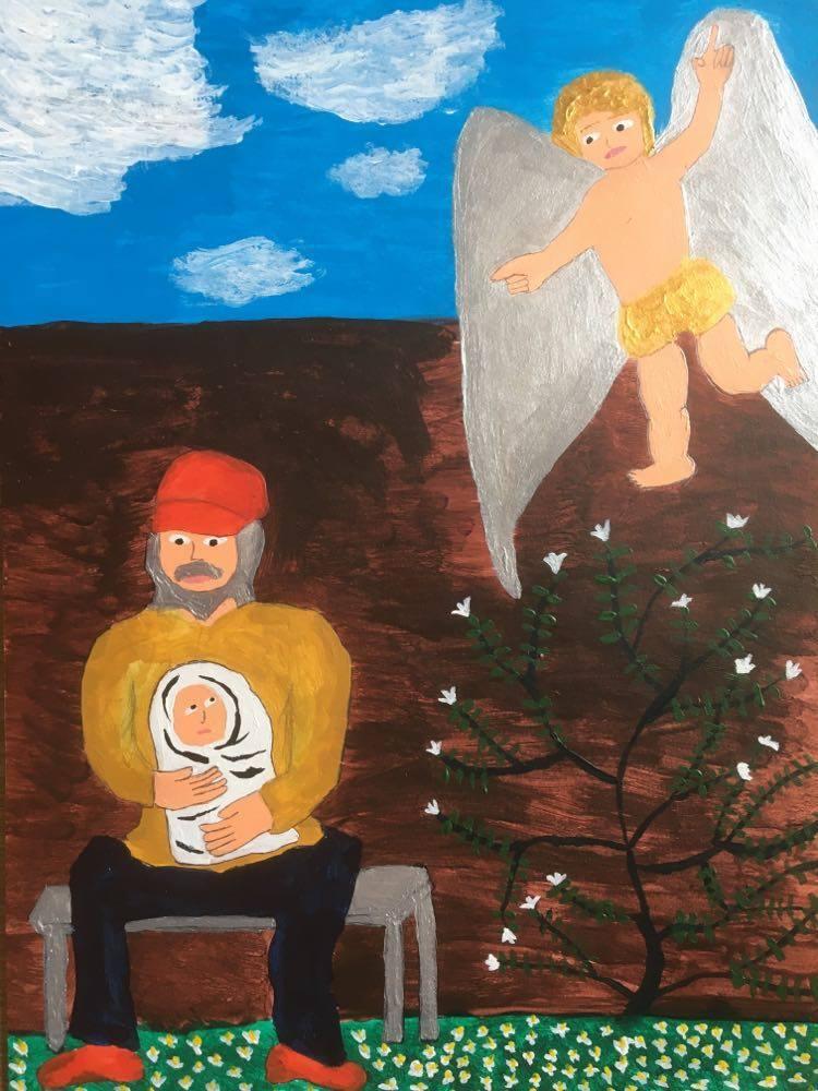 【8/29-9/8期間限定!菊沢将憲最初期絵画展作品】  キリストの誕生  230mm×310mm白い額縁付き