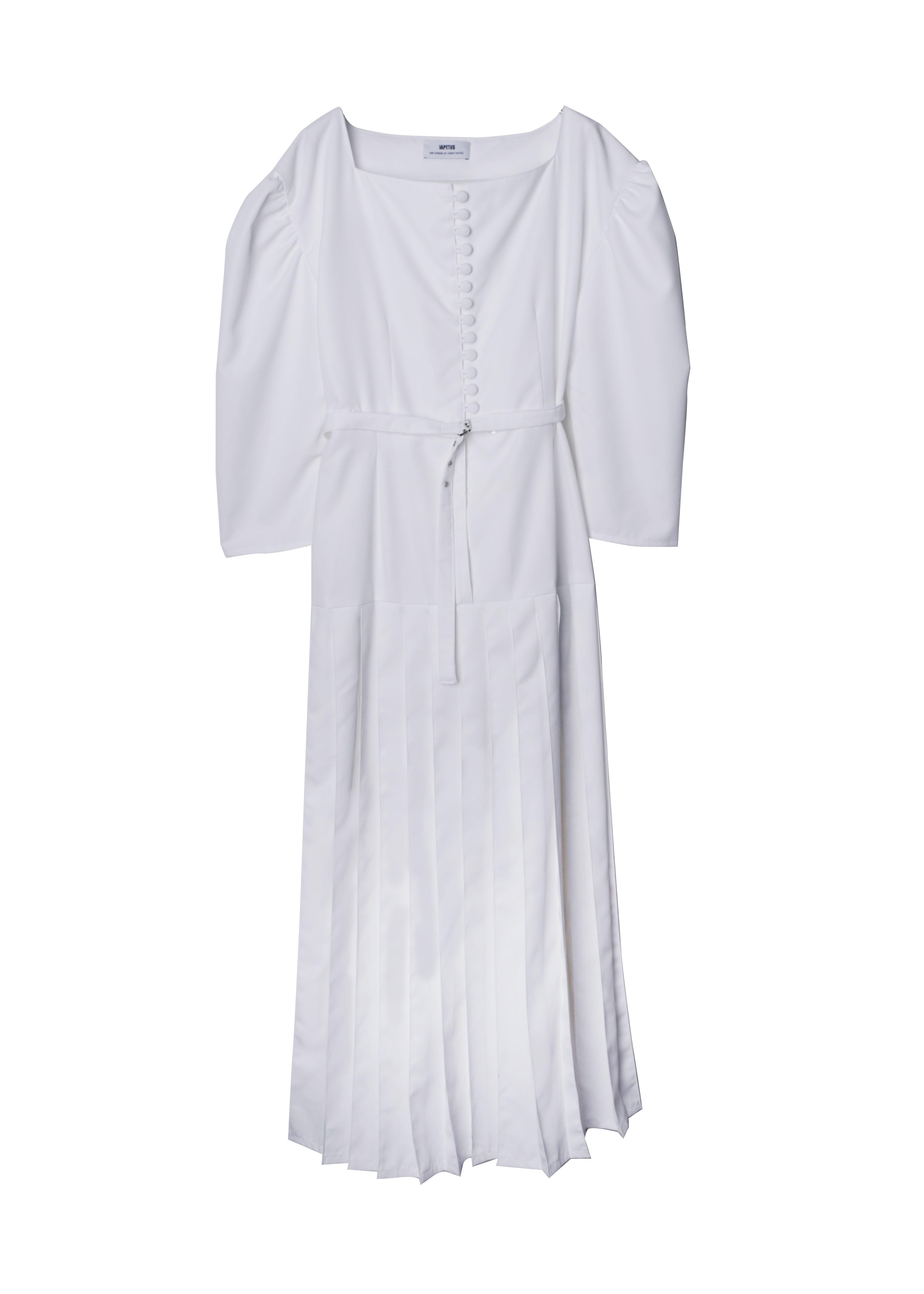 IAPETUS PLEATS DRESS / White