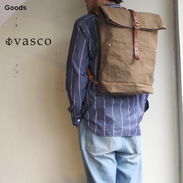 【再入荷】vasco キャンバスレザーロールトップリュックサック CANVAS×LEATHER ROLLTOP RUCKSACK VS-205P (オリーブ)