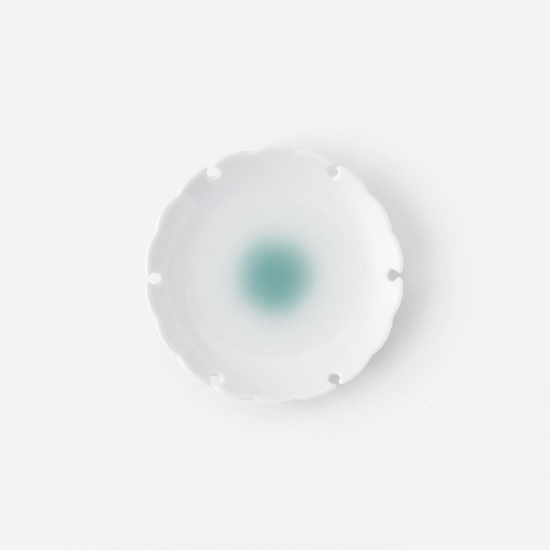 青磁たまり 雪輪小皿