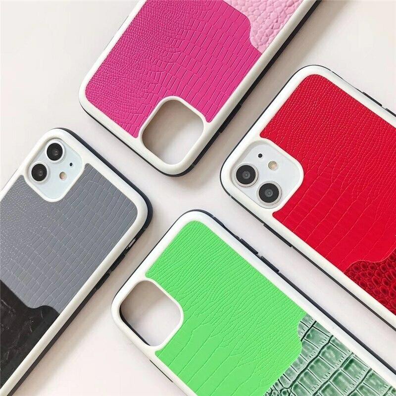 【お取り寄せ商品、送料無料】4カラー クロコダイル調 カラフル ハード iPhoneケース iPhone11