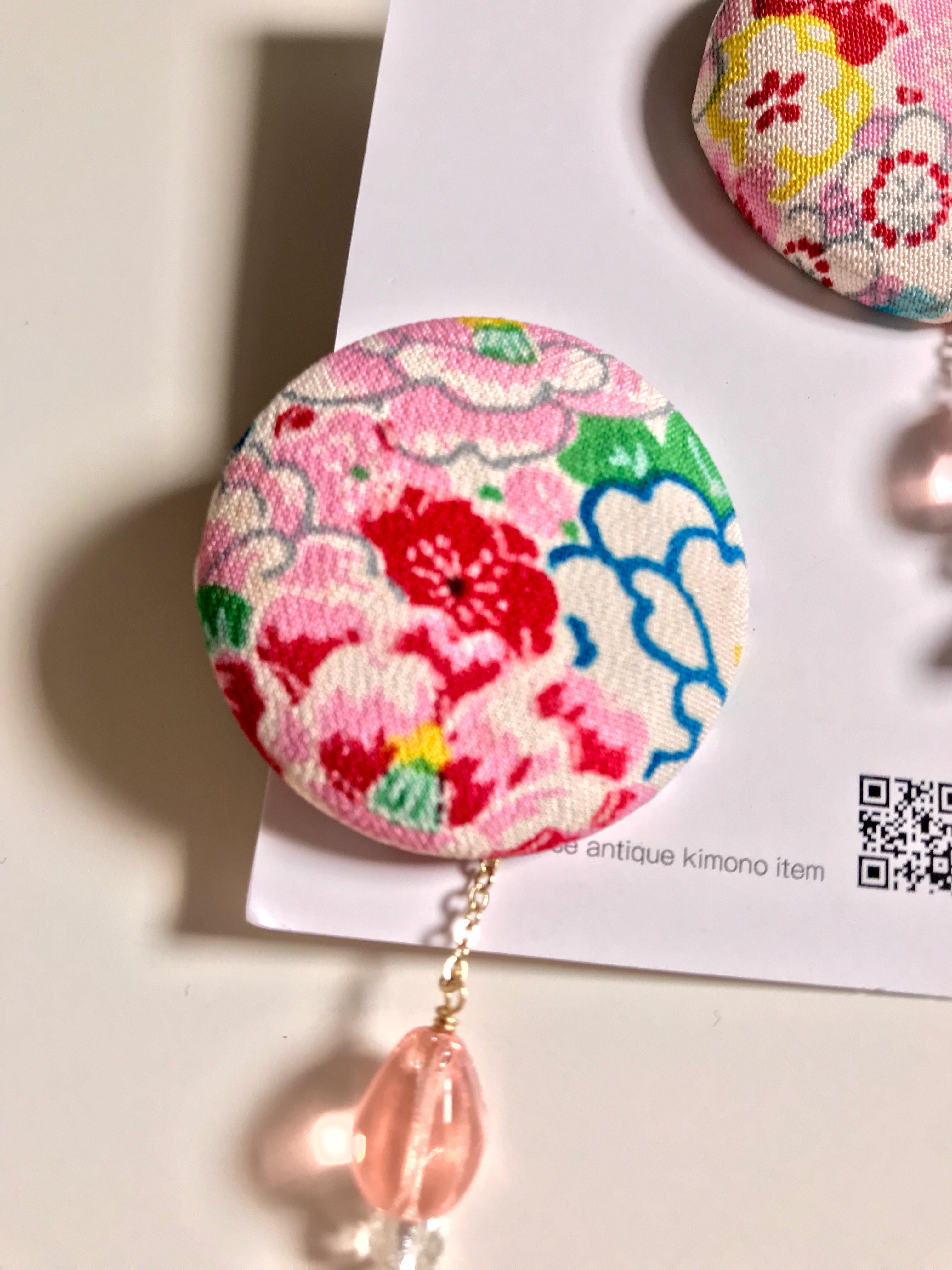 glance + 着物ピアス(アンティーク女児着物・ピンク)−5