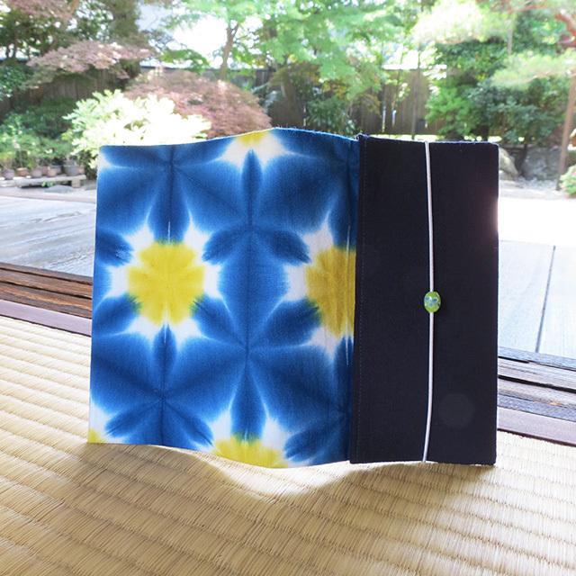 有松鳴海絞、雪花絞り(藍×黄色)