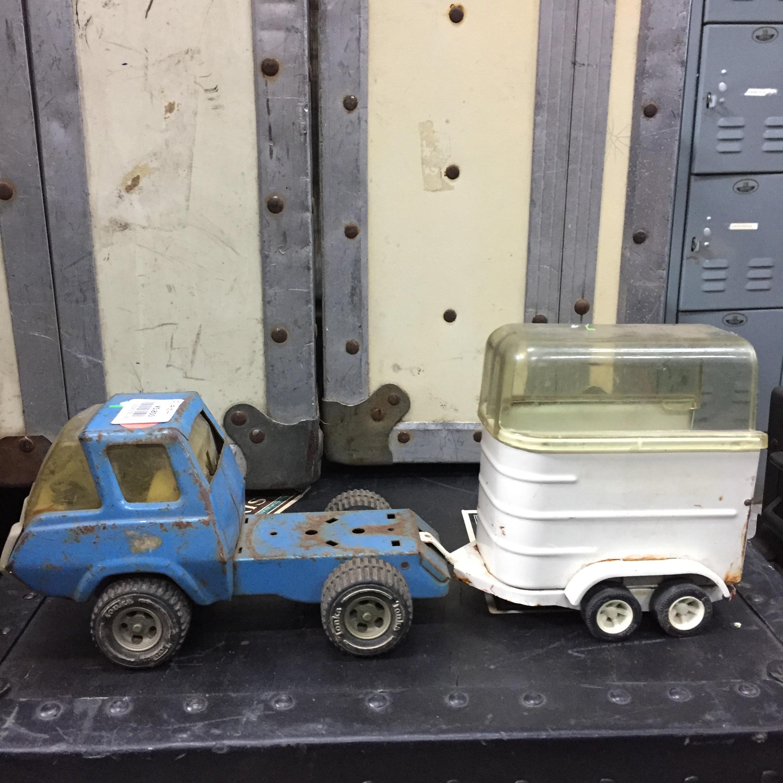 品番0138 ブリキカー ブルー 運搬車 トラック おもちゃ ヴィンテージ アメリカン雑貨
