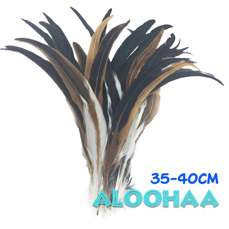 ロングフェザー 【ナチュラル】35-40cm 10本 タヒチアン 衣装 材料 ルースターテール 染め 羽根