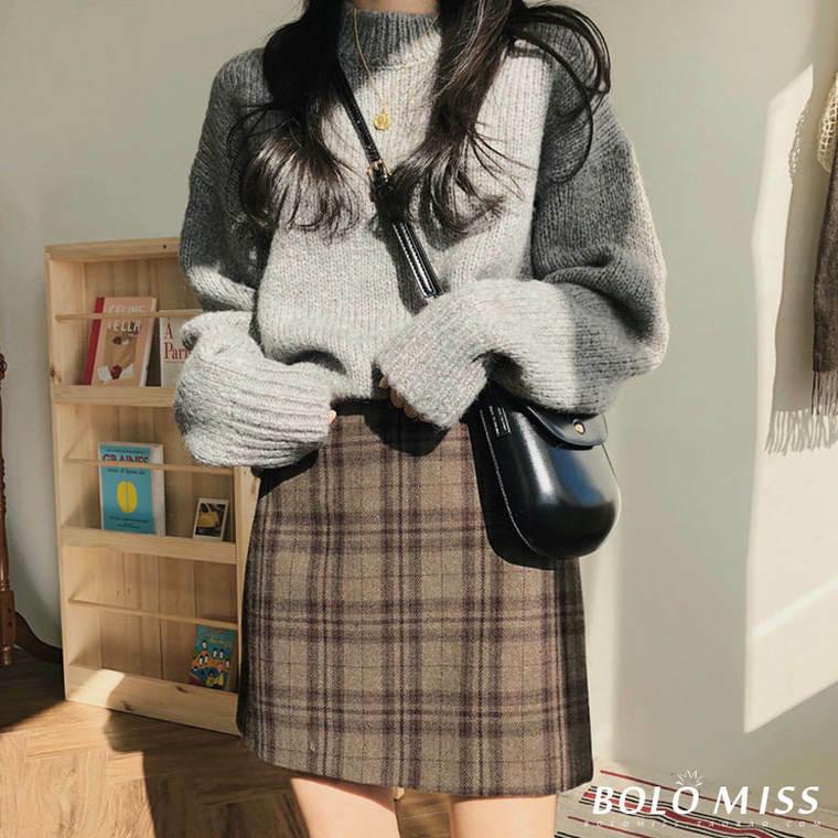 【送料無料】 秋冬の主役 ♡ チェック柄 大人可愛い  レトロ タイト 台形 ミニ スカート